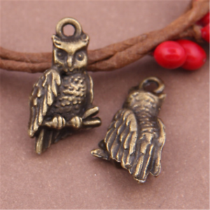 10X Antique Bronze owl  Charm Pendant Beads Jewellery Findings 22mmx12mm GU401