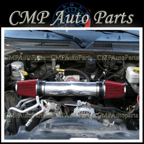 BLACK RED 2003-2008 DODGE RAM 1500 2500 3500 5.7L V8 DUAL TWIN AIR INTAKE KIT