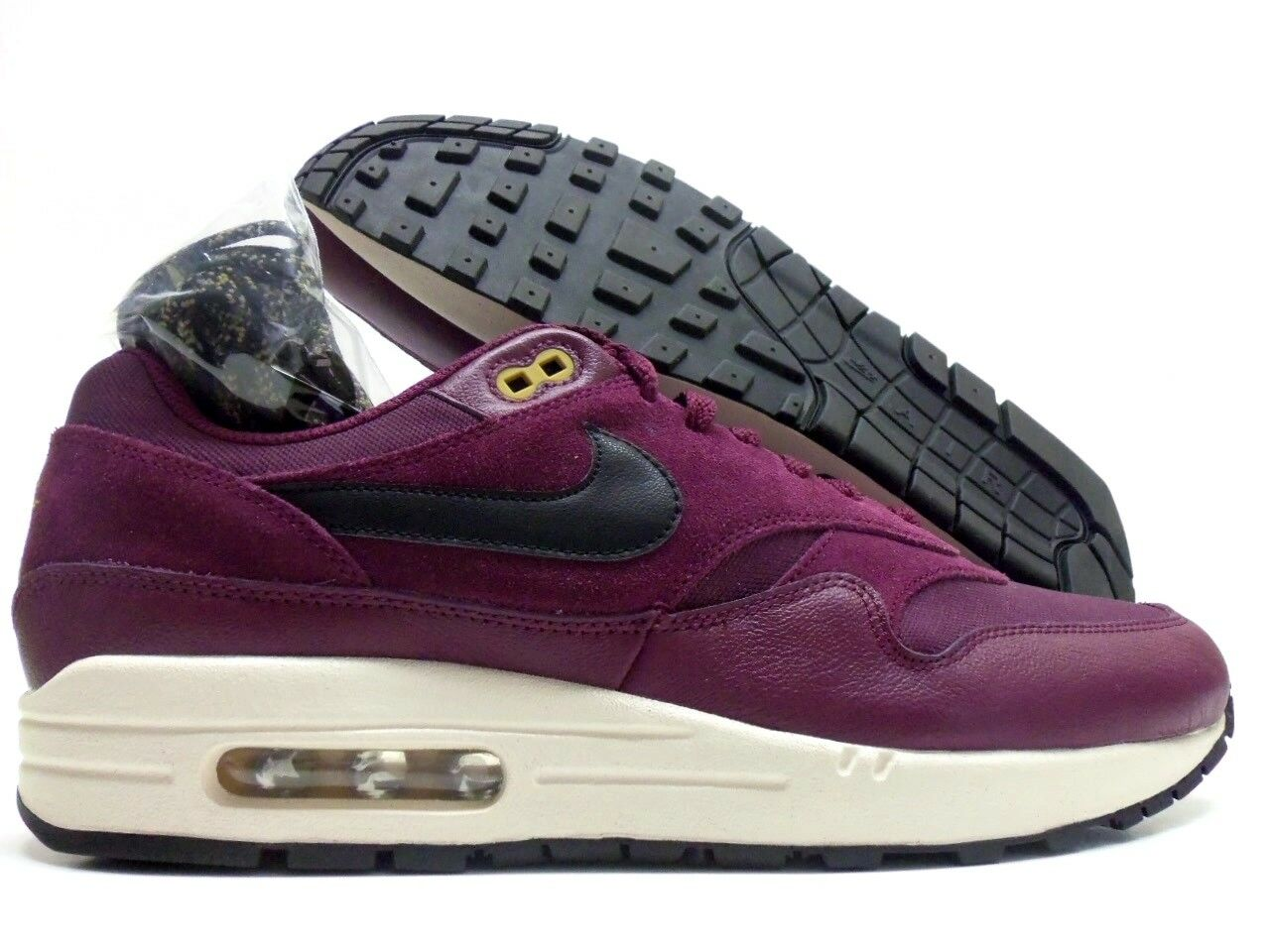 NIKE AIR MAX 1 PREMIUM BORDEAUX BLACK-DESERT MOSS SIZE MEN'S 11 [875844-601]