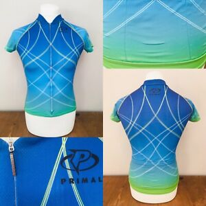 Women's Blue Green Primal Short Sleeve Cycling Jersey