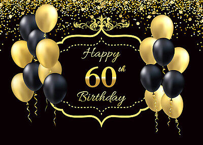 Photo Vinyl Studio Happy 60th Birthday Gold Balloons ...