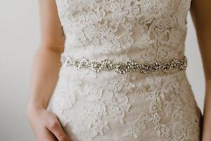 Image Is Loading UK GRACE Silver Rhinestone Flower Diamante Bridal Sash