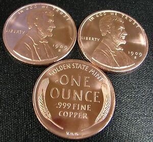 Details about (3) KEY DATE 1909-S VDB LARGE LINCOLN WHEAT PENNIES NEW BU 1  OZ  COPPER BULLION