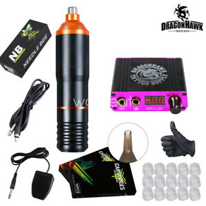 New-Tattoo-Kit-Motor-Pen-Machine-Gun-Color-Inks-Power-Supply-Needles-D3031
