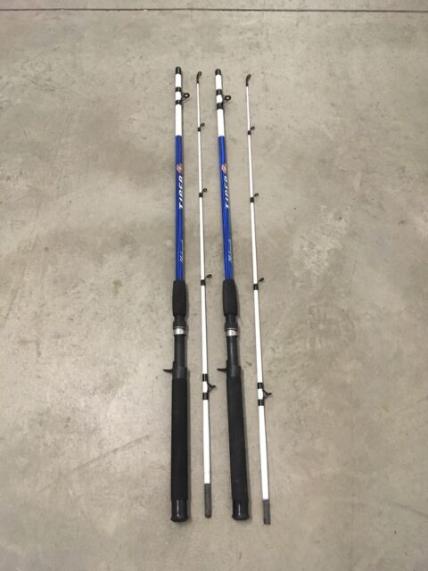 """2 Shakespeare Tiger Casting Rods 6'6"""" Fresh/Saltwater Catfish/Trolling MH BLU BL"""