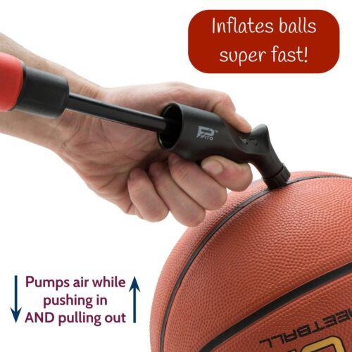 Hand Air Dual Action Ball Pump For Soccer Ball Football Basketball And 4 Needles
