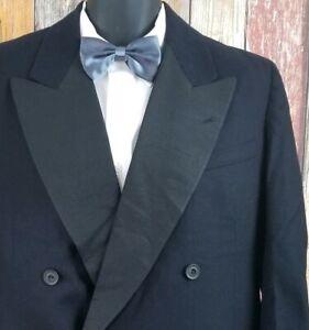 VTG-1940-039-s-Black-Tuxedo-Double-Breasted-Jacket-Sz-40-Regular-Grosgrain-Lapel
