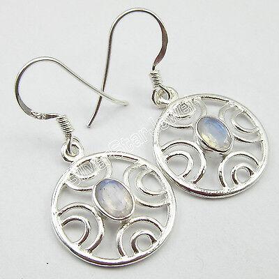 100% NEW Handmade 1 Pair RAINBOW MOONSTONE ART EARRINGS, 925 Pure Silver 3.2 CM