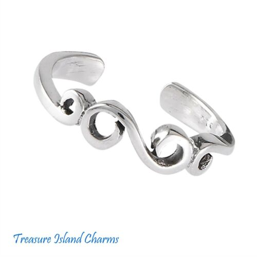 Parchemin Swirl Design .925 Solide Argent Sterling Réglable Toe ou Pinkie Ring