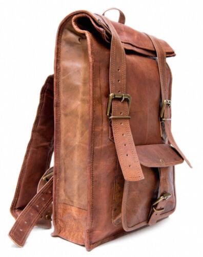Vintage Roll Men/'s Leather Backpack Bag shoulder Briefcase rucksack laptop bag