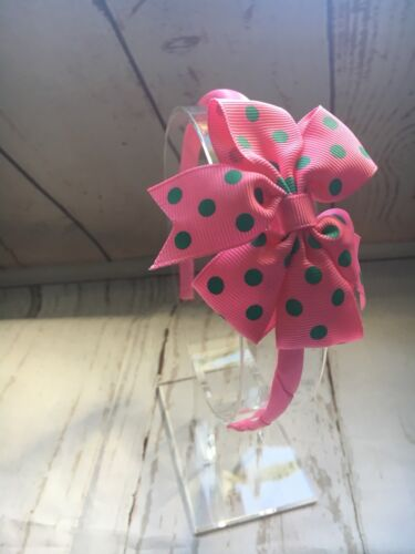 Girls Alice Band Pink With Pink And Green Spotted Bow