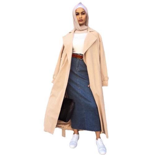 Women Denim High Waist Long Skirts Pencil Slim Skirt Slit Modest Stretch Jeans
