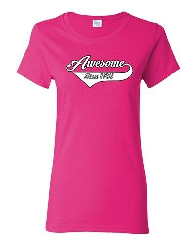Ladies Awesome Since 1986 With Tail Happy Birthday Gift Funny DT T-Shirt Tee
