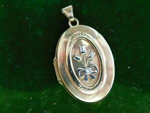 Vtg 9ct Y Gold Little Treasures Engraved Sentiment Hinged Diamond Locket Ci 84