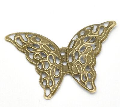 50 Bronze Tone Butterfly Wraps Connectors 4.1x2.9cm