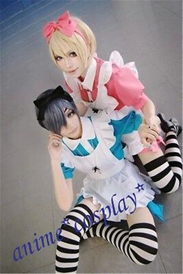 Black Butler Ciel in Wonderland Manga Anime uniform Cosplay Costume Maid Dress