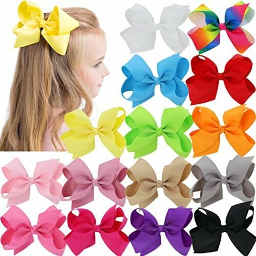 "6"" Hair Bow Clip Jojo Style for Girls Teens Kids Toddle Large School Dance Party"