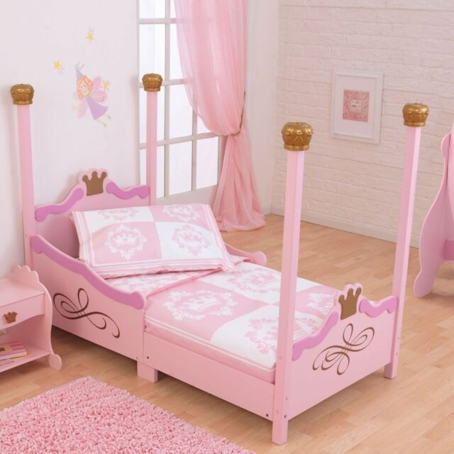 Toddler Bed for Girls Little Princess Pink Durable Wood Kids Bedroom  Furniture