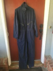 Men's WALLS Master Made Work Cover All Sz 44 Tall Navy Blue Solid!