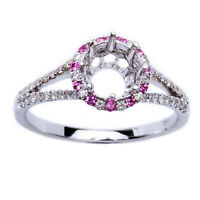.35ct Genuine Pink Sapphire & Diamond Semi Mount Engagement Wedding Ring