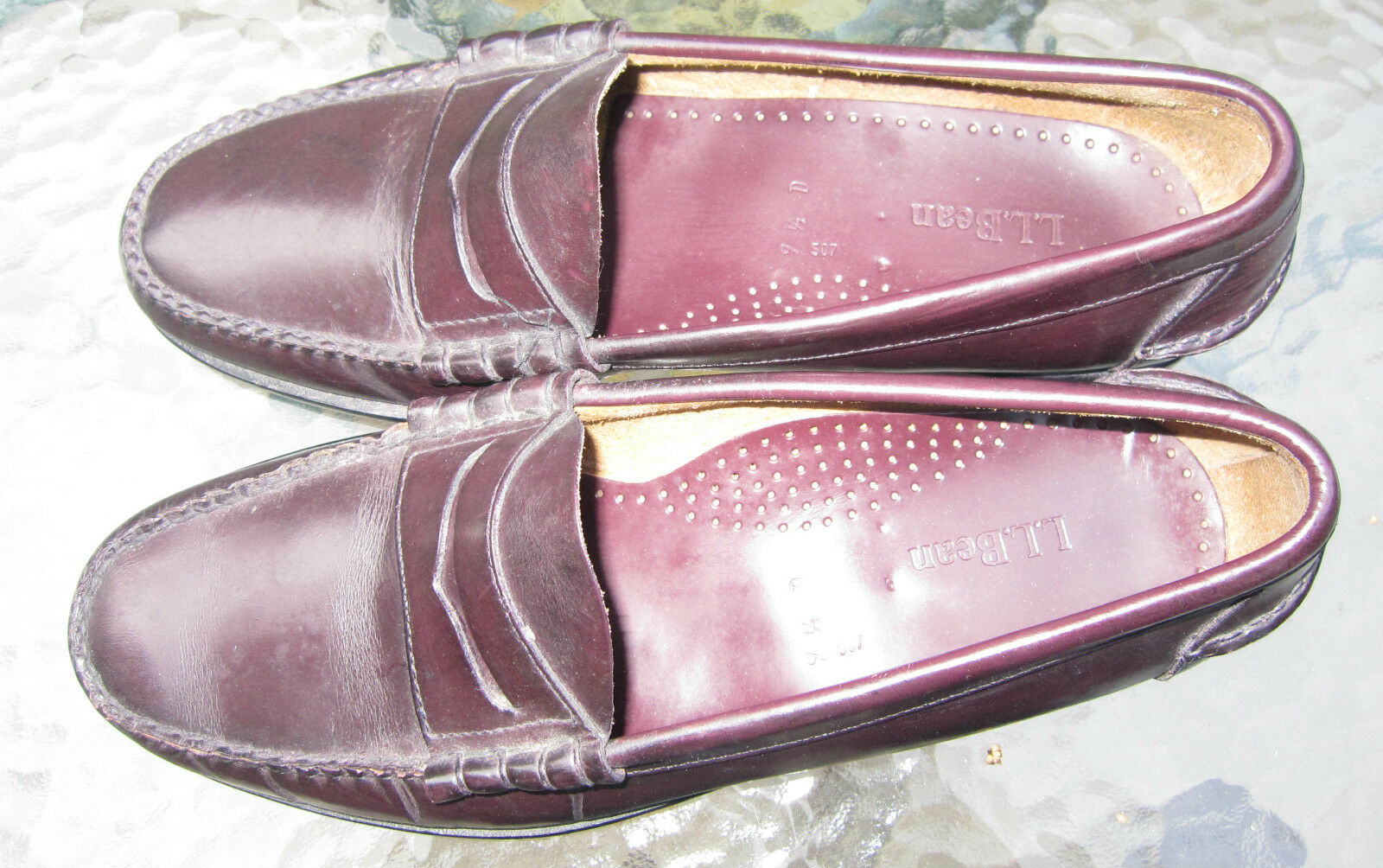 mens LL Bean burgundy leather 1/2 loafer shoes Size 9 1/2 leather bd0769
