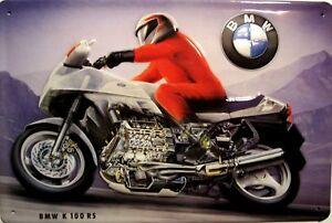 BMW-k-100-Rs-Letrero-de-Metal-3D-en-Relieve-Arqueado-Tin-Sign-20-X-30Cm