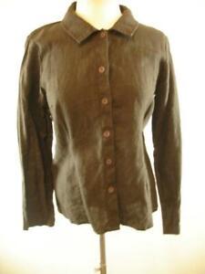 Womens-sz-S-FLAX-100-Linen-Dark-Brown-Top-Blouse-Shirt-Long-Sleeve-Button-Front