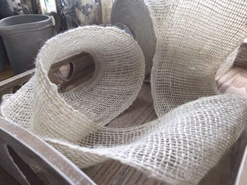 Wide 1 Mtr Trim Sewing Bows,Crafts Ivory Hessian Jute Ribbon Weddings