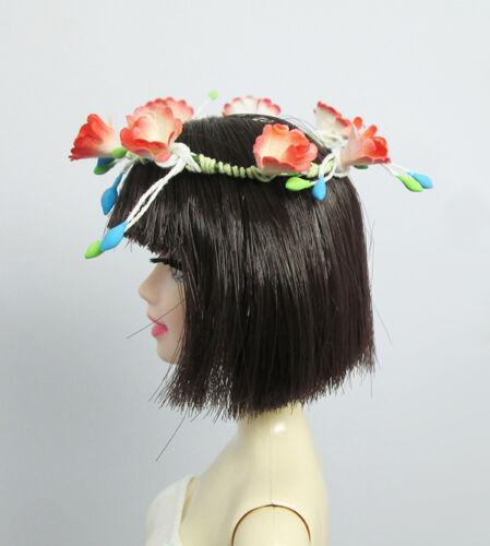 Handmade Orange Red Flower Crown Headband Hair Accessories For Model Muse Doll