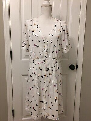 e8cd2f3a3c0 New Madewell Daylily Pintuck Dress Sweet Blossoms Matilda White Wash Sz 14  J7429