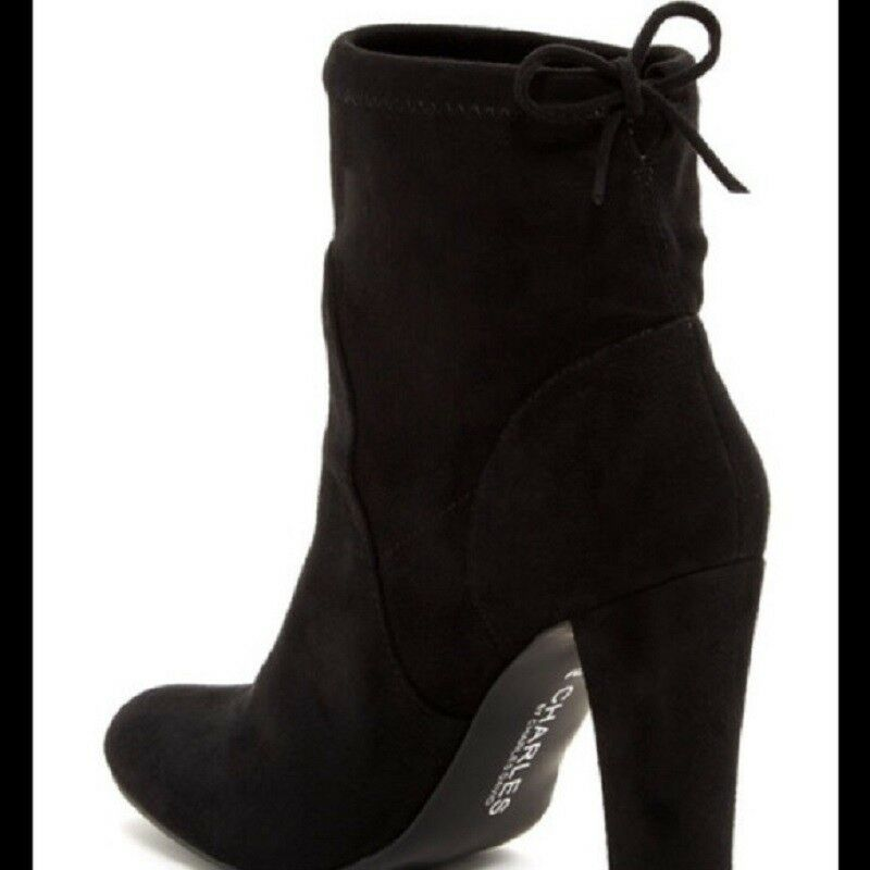 Charles David Womens Black Boots Heeled Faux Faux Faux Suede Pull On Drawstring Sz 9 M 886886