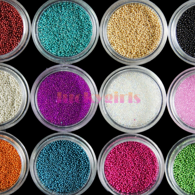 12 Pots Colors Caviar Mini Balls Micro Beads Nail Art Acrylic Uv 3d