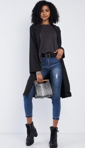 COMME USA Size Medium  Black Classy Midi Open Front Self Tie Trench Coat Jacket