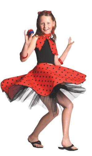 GIRLS RED ROCK /'N/' ROLL SKIRT 1950/'S FANCY DRESS BOOK WEEK SIZE 4-12 YEARS