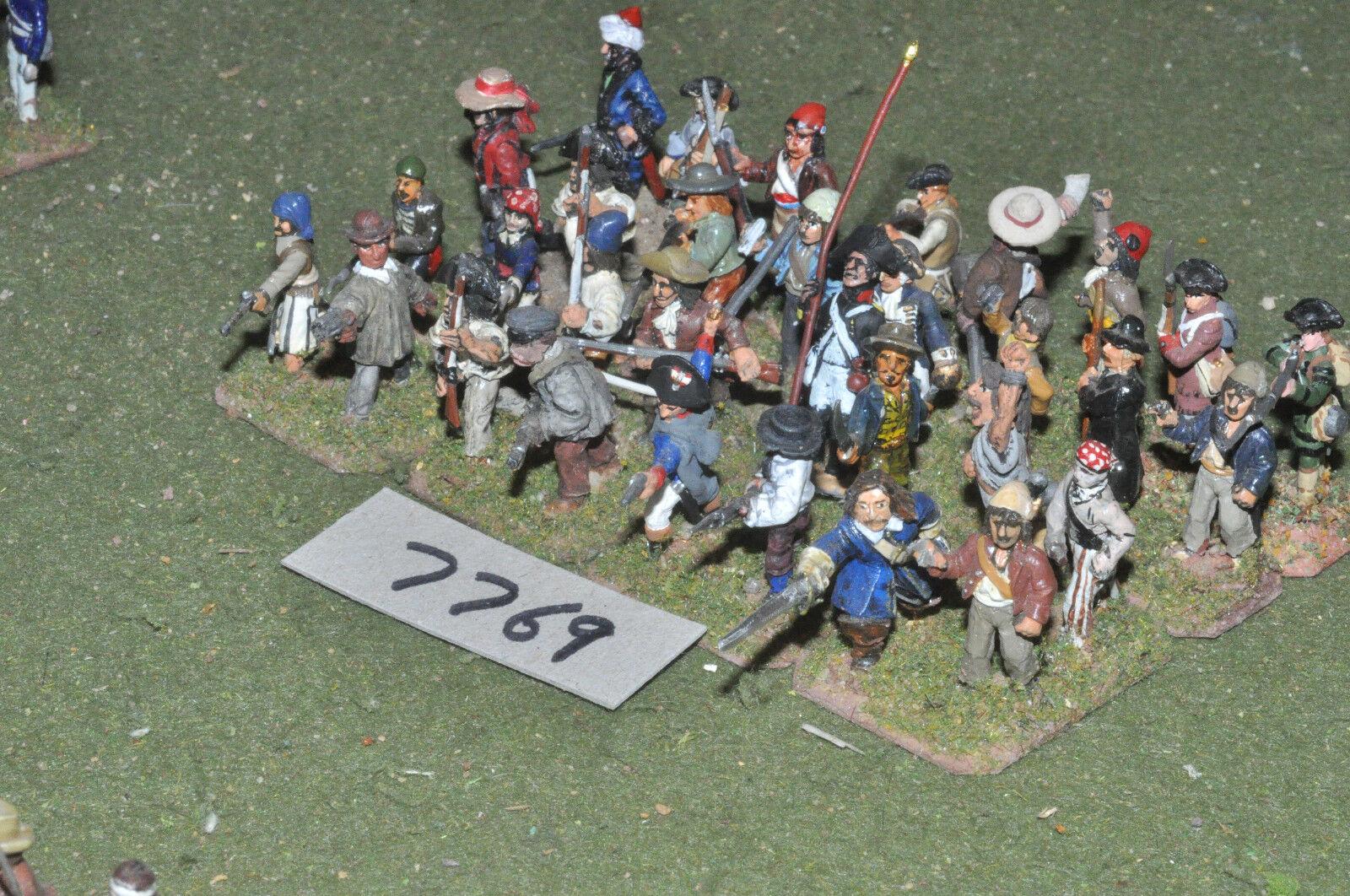 25mm napoleonic   french - revolutionary war militia 32 figs metal - inf (7769)