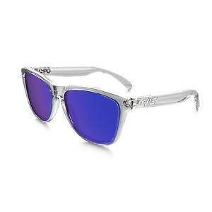 d6bec2bc1861 Image is loading Oakley-Frogskins-Sunglasses-Polished-Clear-Frame-Violet -Lens