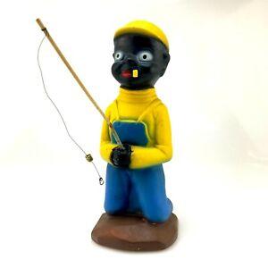Vintage-H-P-Moyer-Ceramics-Fisherman-Boy-Figurine-1940-039-s-9-034-Artist-Stamp