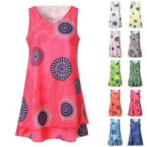 Summer-Womens-Plus-Size-Print-Midi-Loose-Shift-Sleeveless-Tank-Vest-Sun-Dress