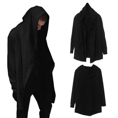 Fashion Men Punk black Hooded Jacket Long Cardigan Black Ninja Goth Hoodie Coat