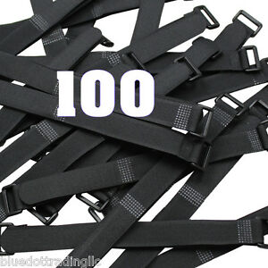 NEW ~ Qty 100 Hook and Loop Reusable Cable Tie Down Bundle Straps Black 8 inch