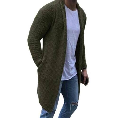 Men Knitted Long Cardigan Sweater Jumper Top Casual Jacket Coat Outwear Knitwear
