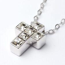 Cristal claro austríaco GENUINA Cruz Colgante Collar 18Ct Oro Blanco Plateado UK