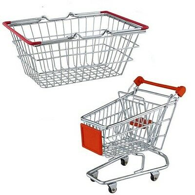 Chrome Plated Metal Shopping Basket Kids Role Play Pretend Toy Green Handle