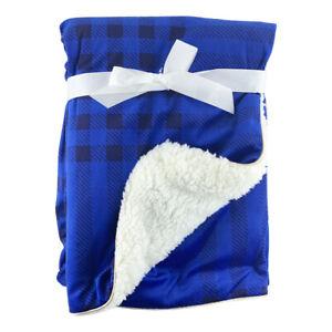 Blue-Tartan-Mink-Sherpa-Fleece-Baby-Crib-Pram-Moses-Blanket-75-x-100cm