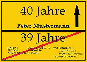 Das Bild Wird Geladen Einladungskarten Als Ortsschild Geburtstag Einladung  10 20 30