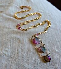 Handcrafted Pink Watermelon Tourmaline Slice 14K Gold Filled Necklace 22""