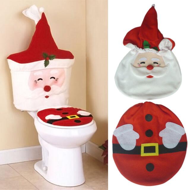 2pcs Santa Toilet Seat Cover Bathroom Set Christmas Xmas Home Decoration set