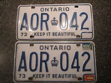 1973 Ontario License Plate Pair Set YOM Year of Manufacture A0R-042