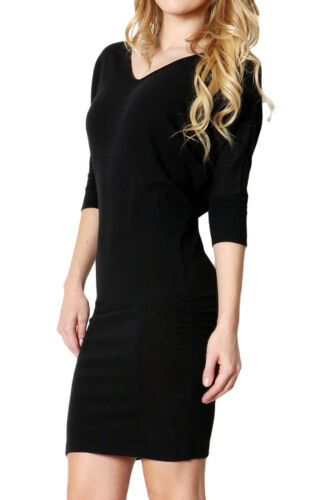 Black neck Dress Bodycon V small w0Aq6vw