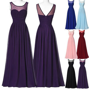 Formal Evening Party Prom Chiffon Dress Long Cocktail Bridesmaid ...